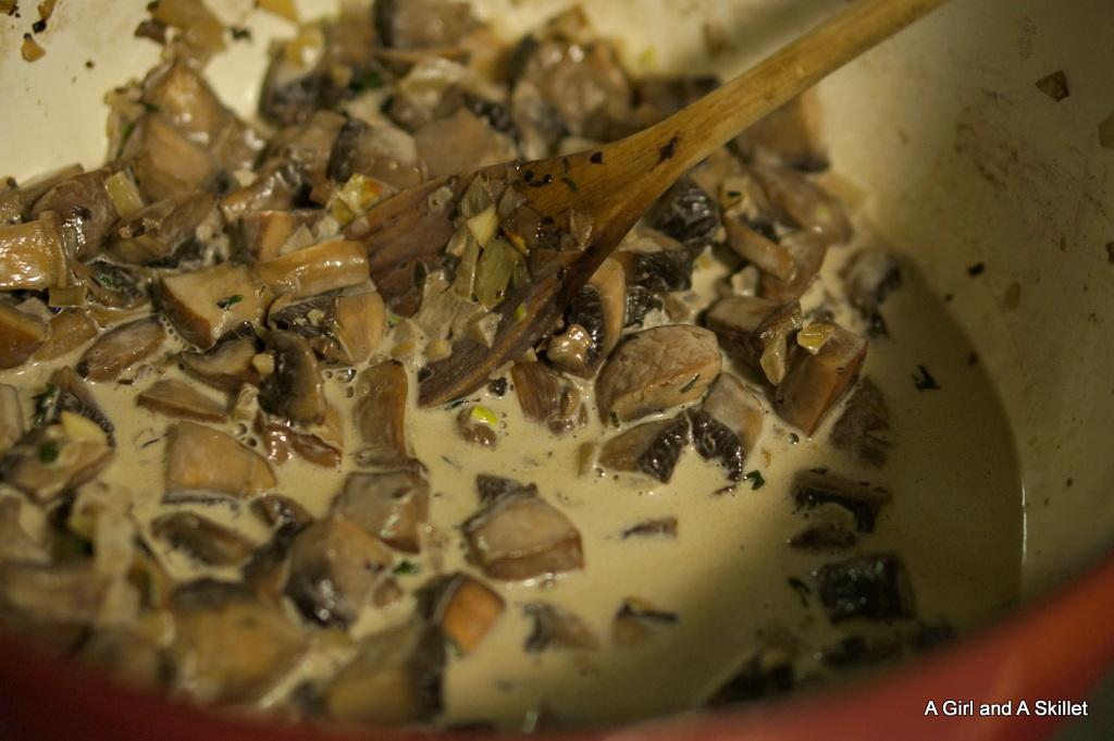 Preparing mushroom toast